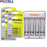 20Pcs/5Card PKCELL AAA Battery 3A Batteries and 4slot EU/US Plug Charger For 2or4pcs AA/AAA NIMH/NICD Rechargeable Batteria