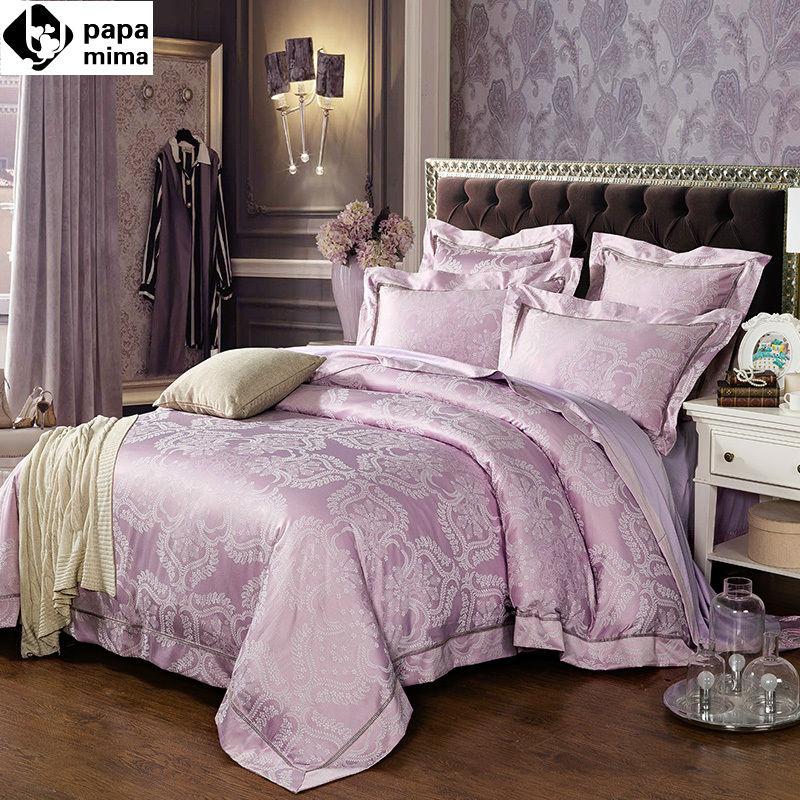 Papa Mima fashion floral pattern pale mauve silk cotton jacquard linens Queen King Size bedding sets