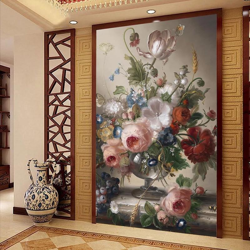 Custom Photo Wallpaper 3D Vase Floral Oil Painting Murals Living Room Entrance Backdrop Wall Paper For Walls 3 D Papel De Parede