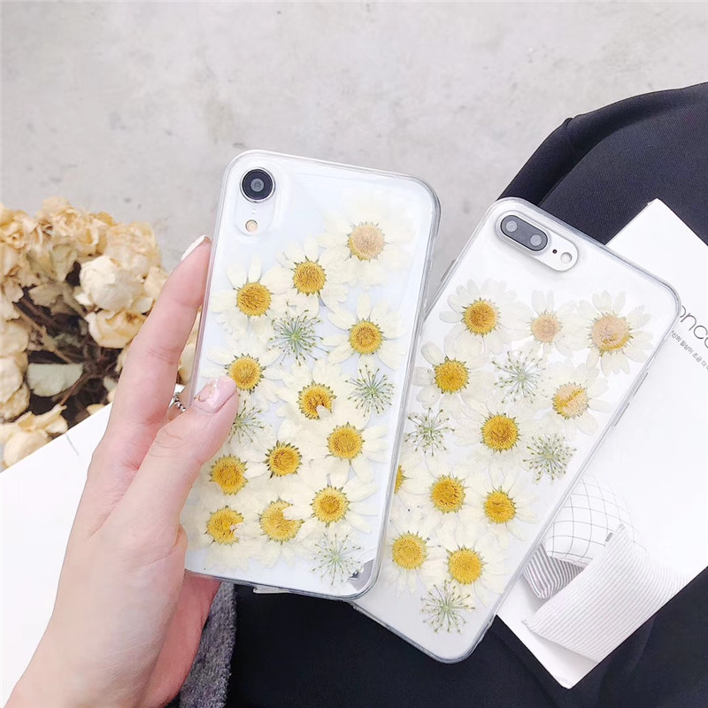 Real Dried Flower Daisy TPU Phone Case For Huawei P40 P30 P20 Honor 8X 10 Lite 20 V30 Mate <font><b>30</b></font> 20 Pro Nova 3 3i <font><b>5</b></font> 6 Cover Fundas image