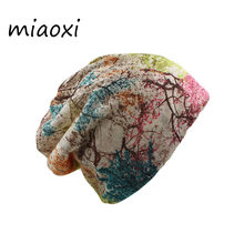 miaoxi Fashion Women Spring Hat Brand Caps Scarf Two Used Casual Adult Autumn Floral Girl's Beanies Skullies Casual Bonnet