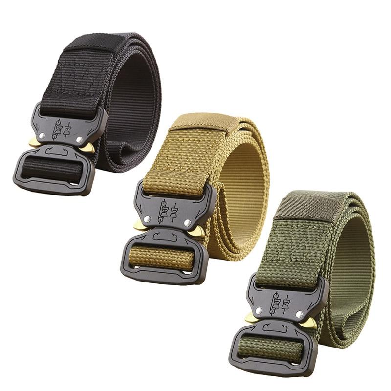 Militar ejército equipo táctico cinturón hombres espesar hebilla de metal robusto nylon cinturón cinturones de combate
