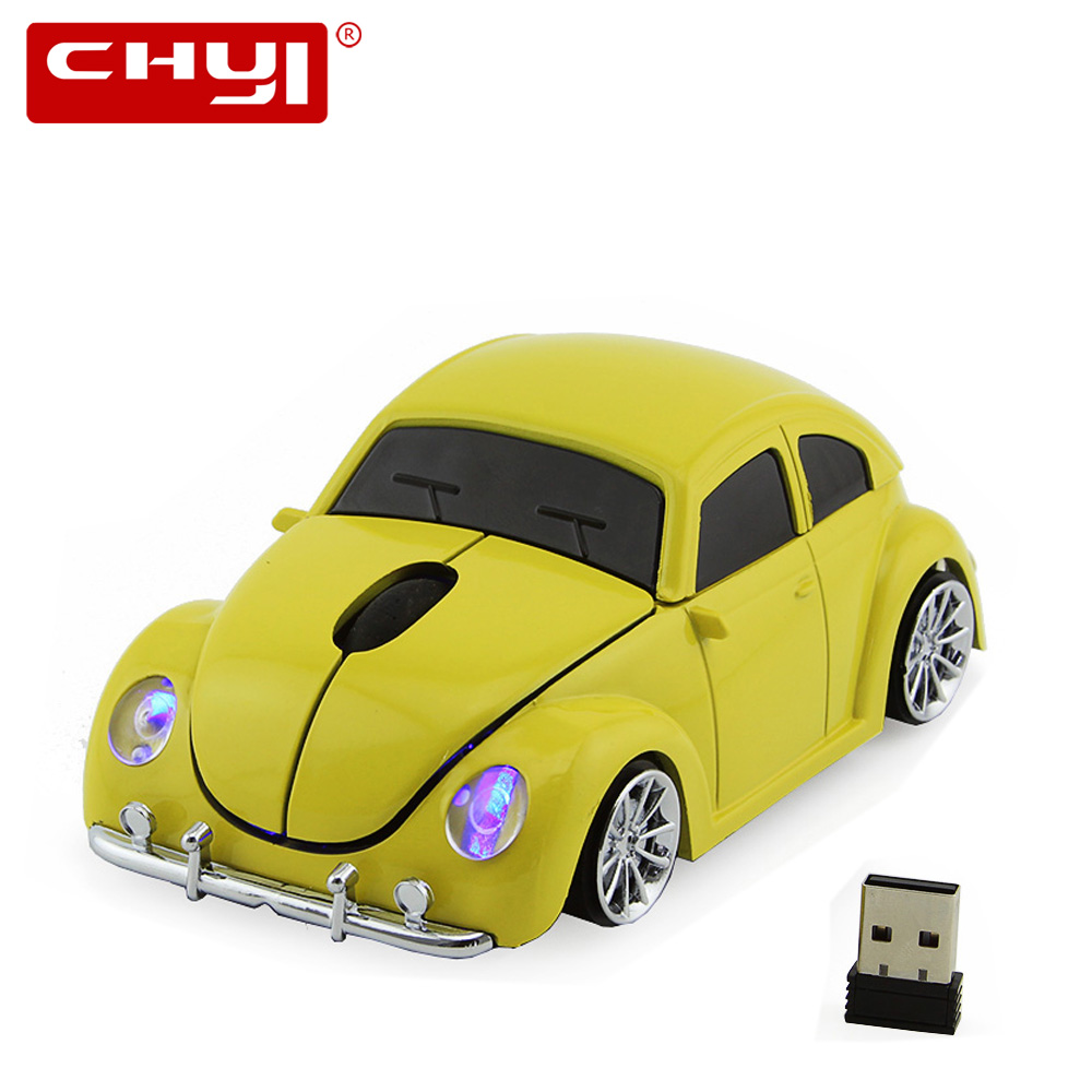 Mouse Mouse Wireless CHYI 1600DPI Optical Computer VW Beetle Car Maus 3D Gaming Mause për Dhuratë Laptop PC