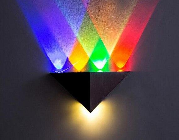 5 w triangolo led applique da parete lampada specchio