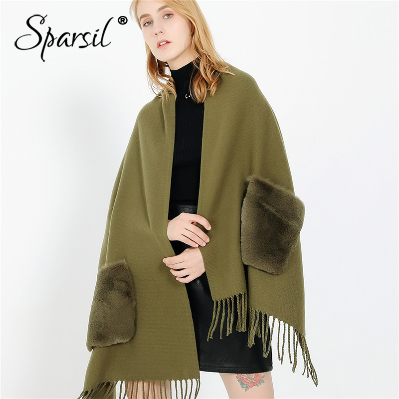 Sparsil New Women Spring Tassel Cashmere Scarf Solid Color With 2 Pocket Fashion Wraps Winter Autumn Warm Wool Blanket Shawls