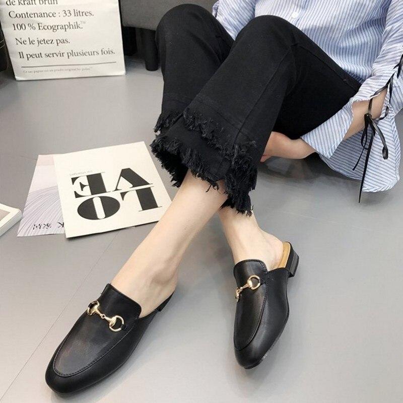 Big 2019 Le Apricot Boucle La Glisser Pour Nouvelle En Sandales Chaussures Printemps Femmes Paresseux Plates Muller 41 noir 34 Métal Moitié De Dans Les blanc Yards TKFlJc1
