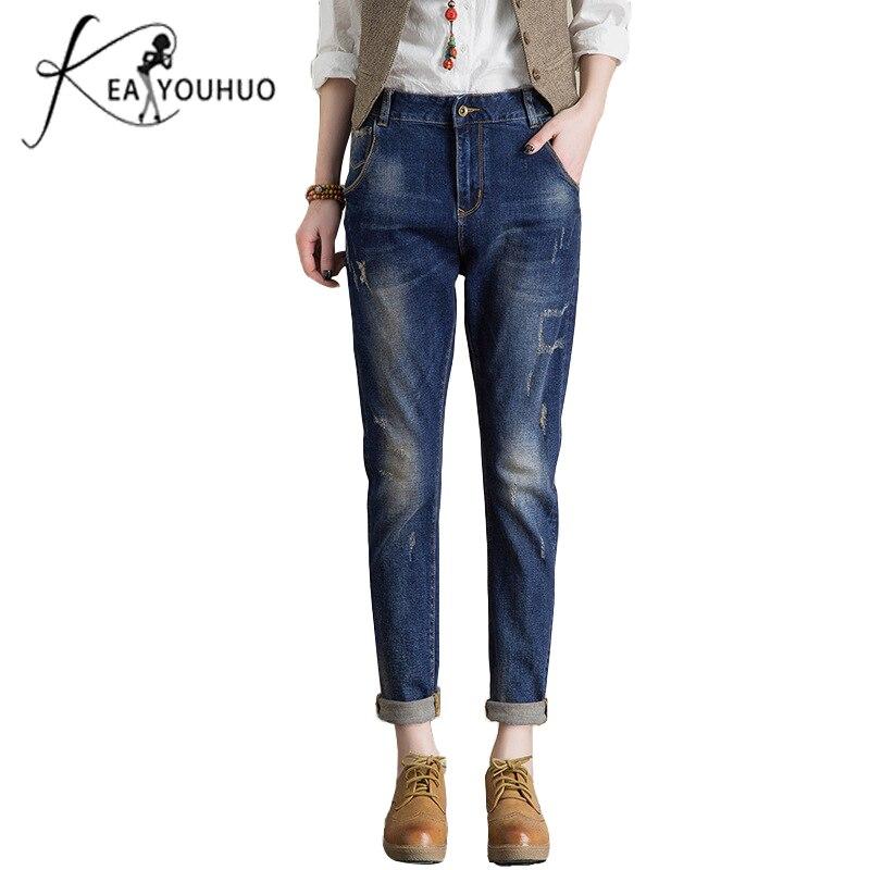2018 Letní roztrhané džíny pro ženy Žena s vysokým pasem kalhoty Denim tužka kalhoty Vintage Přítel Jeans žena Jean Femme  t
