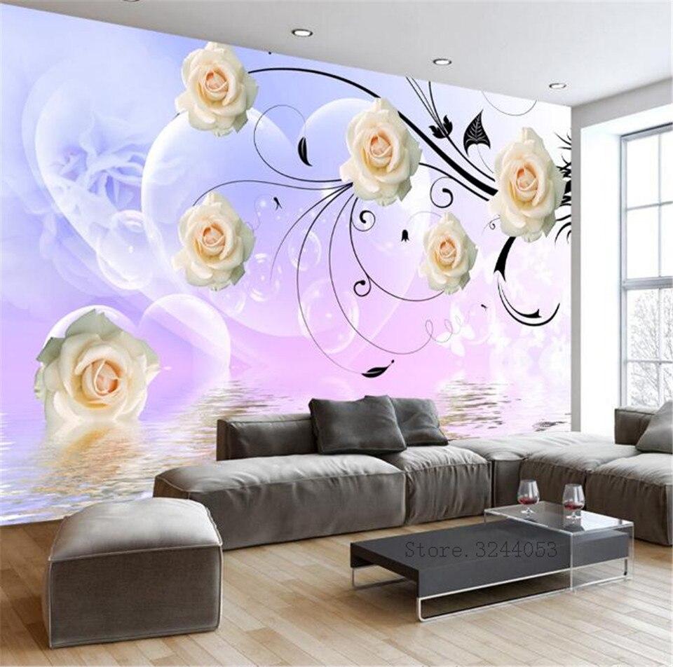 Custom Modern Wallpaper For Walls 3 D Hd Flower Wall Papers Wallpaper Designs For Living Room Bedroom Decor Photo Wall Mural Aliexpress