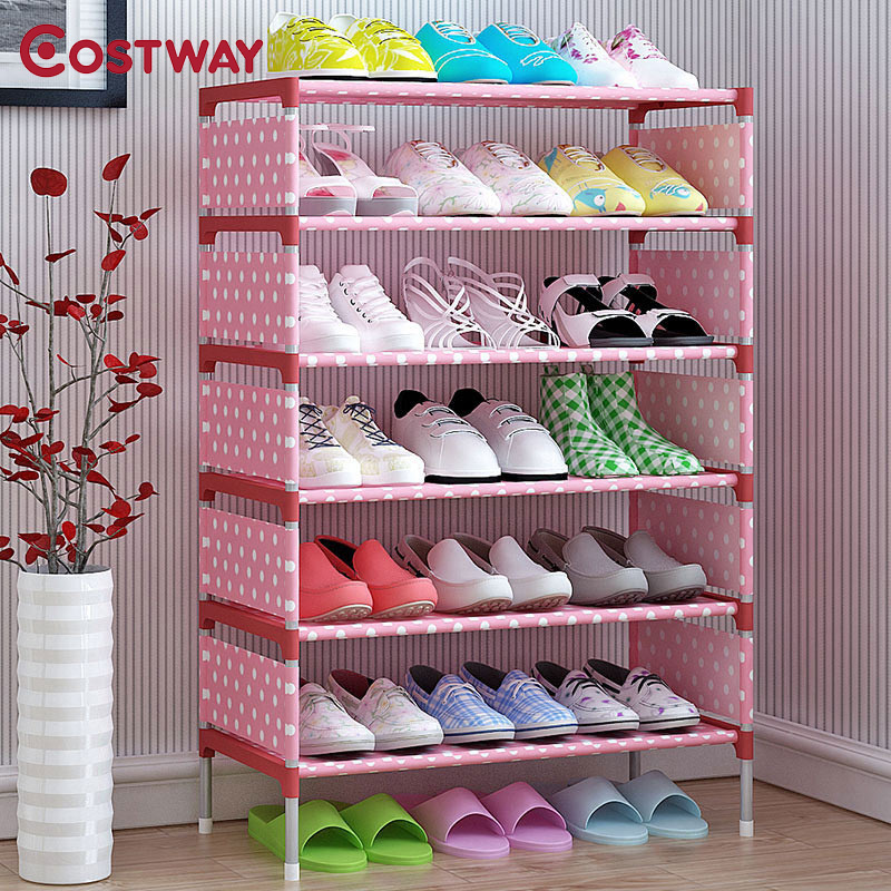 COSTWAY Non-woven 5 Tier Shoes Rack Shoe Cabinets Stand Shelf Shoes Organizer Living Room Bedroom Storage Furniture W0112 european style living room furniture television cabinets wine sets decorative display cabinets
