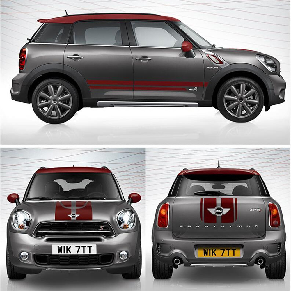 лучшая цена Car Hood+Trunk+Side Door Stripes Exterior Decals Stickers For Mini Cooper S Countryman R60 Decoration Car Styling Accessories