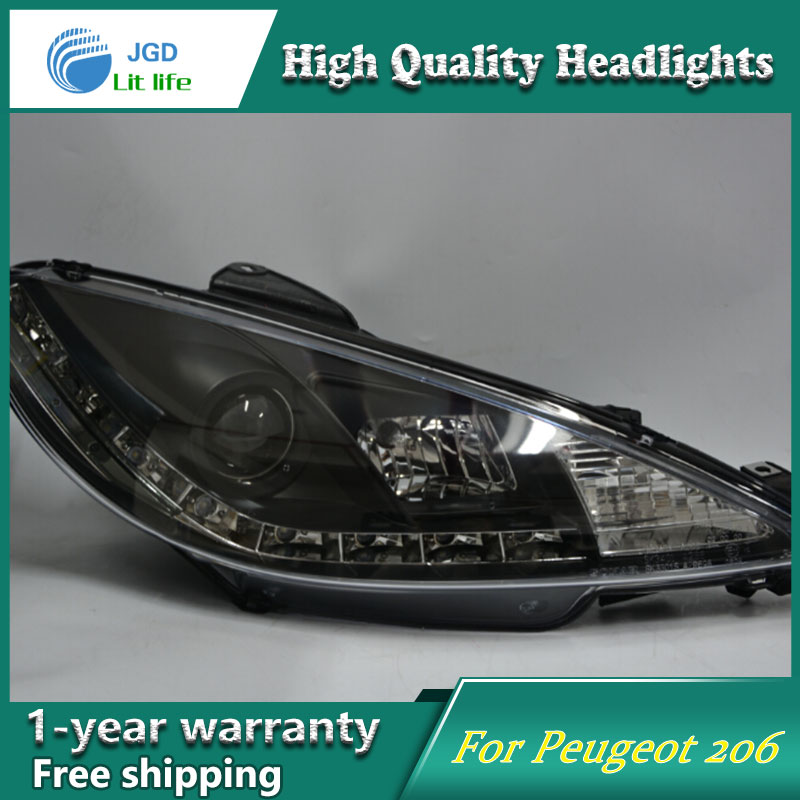 high quality Car styling case for Peugeot <font><b>206</b></font> 1998-2004 <font><b>Headlights</b></font> LED <font><b>Headlight</b></font> DRL Lens Double Beam HID Xenon image