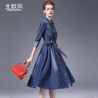 2017 Wiosna i Jesień nowy wzór wysokiej talii dżinsowa sukienka trzy czwarte rękawem duża huśtawka Linii kobiet moda sukienka NW16C6263