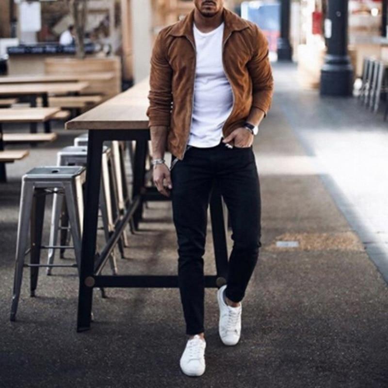 HTB1DV9UaED1gK0jSZFGq6zd3FXai MJARTORIA 2019 New Fashion Men's Suede Leather Jacket Slim Fit Biker Motorcycle Jacket Coat Zipper Outwear Homme Streetwear