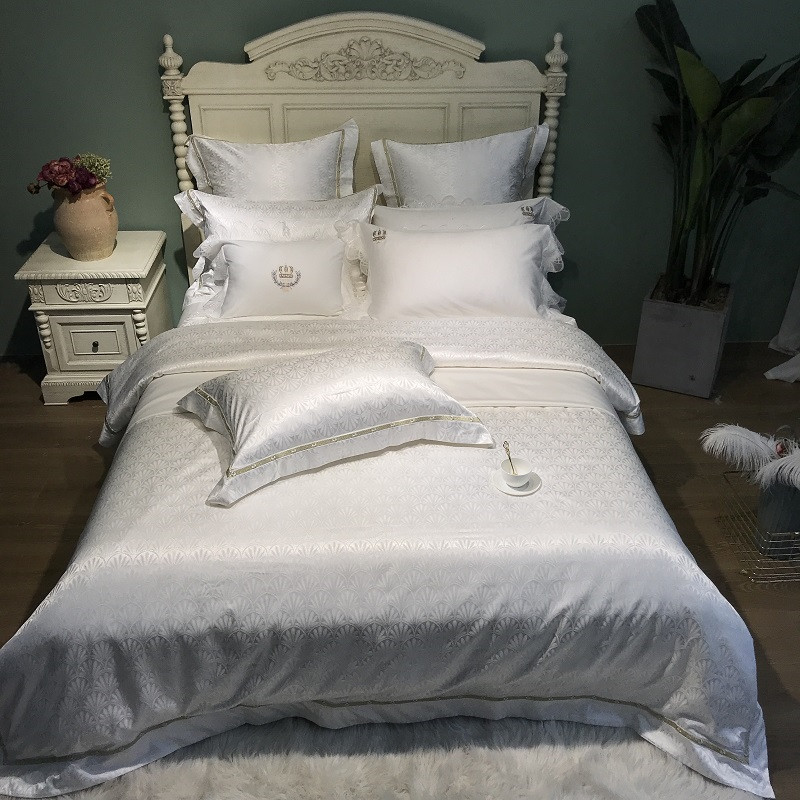White Silk Egyptian cotton Queen King Size Bedding Set Duvet Cover Bed sheet Fitted sheet Pillowcases