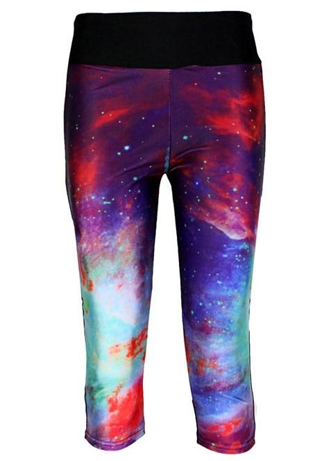 Hot Sale Women Slim Hip Mid Calf Leggings Sexy Colorful Sky Digital Print font b Fitness