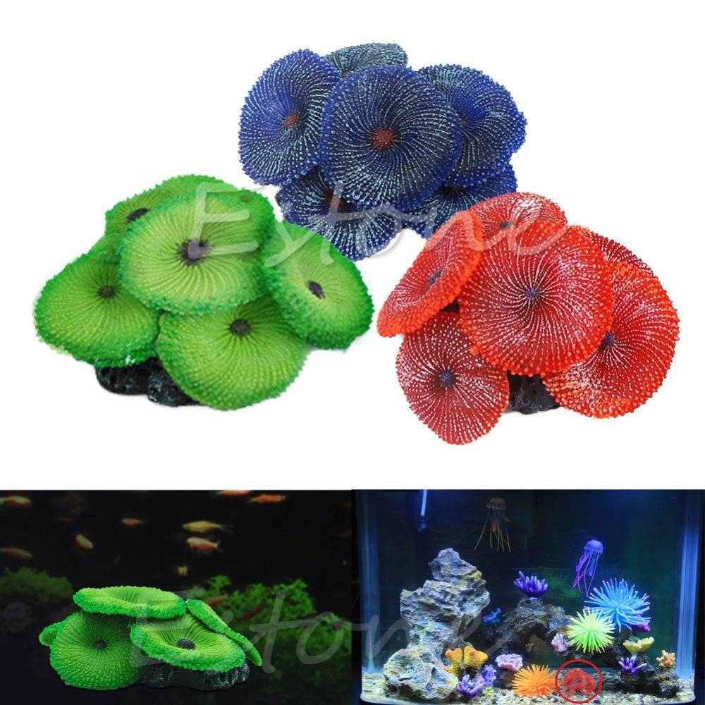 Artificial aquarium fish tank - Artificial Coral Plant Fake Soft Disc Ornament Decoration For Aquarium Fish Tank F1fb China