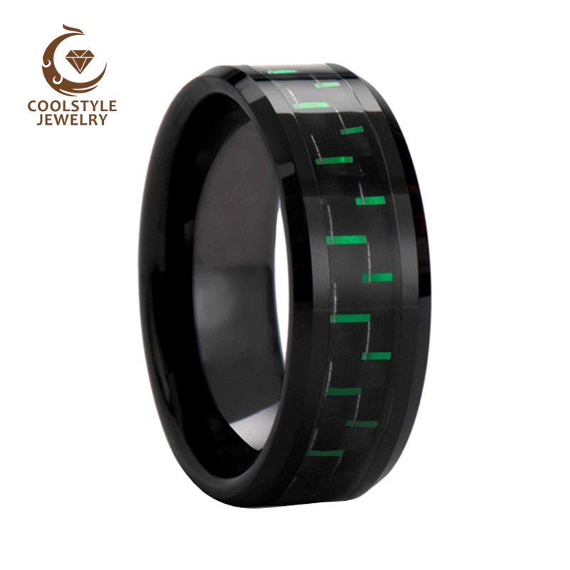 цена на 8mm Black Green Carbon Fiber Inlay Tungsten Carbide Ring Black Plated Comfort Fit Wedding Band Engagement Ring