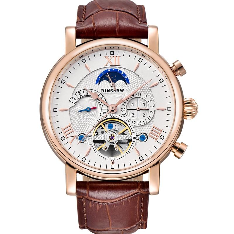 BINSSAW Reloj hommes Montre mécanique automatique Tourbillon affaires en cuir Montre Homme Phase de lune sport montres Zegarek Meski - 2