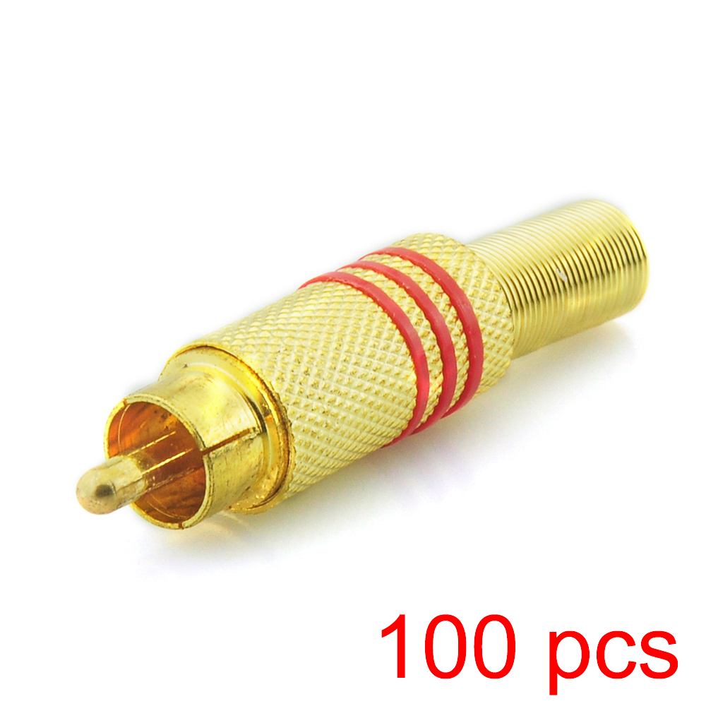 100x solderless RCA Male Connector Gold Plated Audio Plug Adapter Coupler купить