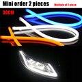 1 peças/lote 30 cm Automóveis Drl Flexível Universal Dual Color Car LED Daytime Running Light Com o Giro de Luz Único AE
