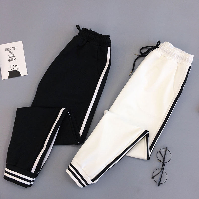 Spring Sport women's Trousers Student Streetwear Women's Pants Elastic Casual female Black Cargo Pants for Women
