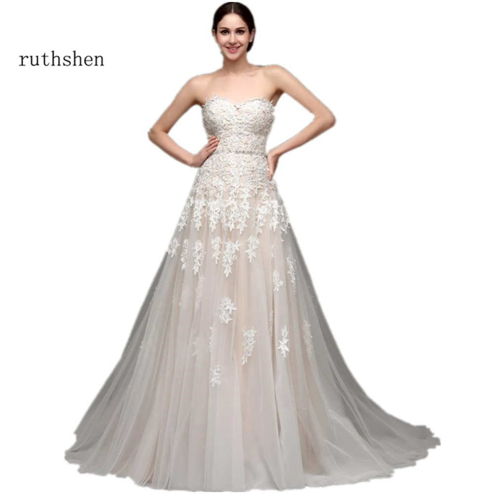 Ruthshen Champagne Wedding Dresses Cheap 2018 With Sweetheart Beaded Lace Appliques Draped Tulle Real Photo Vestidos Baratos
