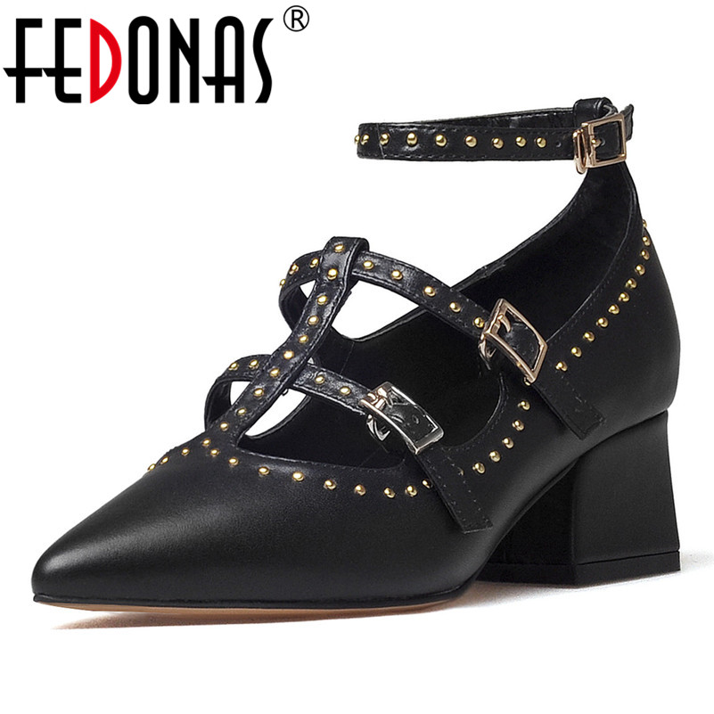 FEDONAS New Women Pumps High Heels Shoes Rivets Stiletto Pointed Toe Shoes Woman Sexy Party Wedding Pumps Ladies Prom Shoes 2017 fashion sexy pointed toe women high heel pumps metal heels stiletto ladies party shoes wedding pumps