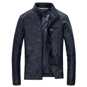 Image 5 - Chaqueta de cuero sintético para hombre, abrigo informal liso de piel sintética, chaqueta ajustada de cuero para motocicleta, prendas de vestir, primavera 2020