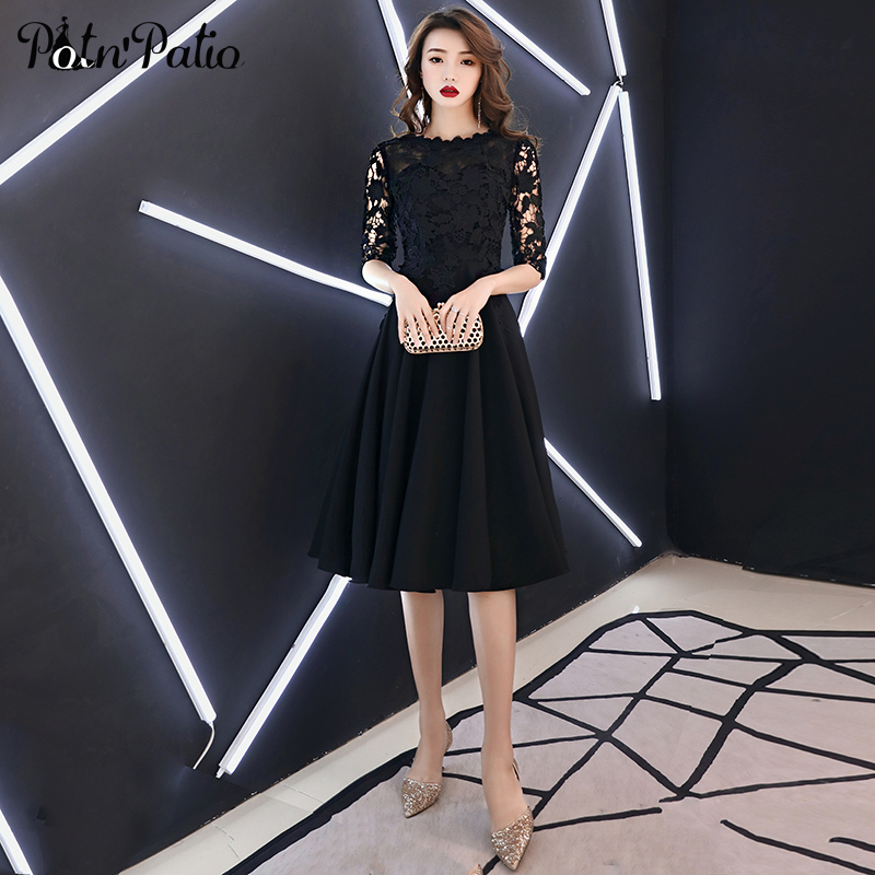 Elegant Black Short Evening Dresses 2019 A-line Lace Spandex Satin Women Semi Formal Dresses With Half Sleeves