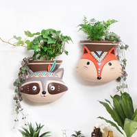 1pc Wall Hanging Planter Pot American Style Animal Design Flower Pot Succulent Planter Pot Home Decor Desktop Owl Flowerpot