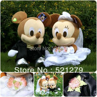 Free Shipping 1 Couple 35cm Stuffed Mickey And Minnie Mouse Plush Soft Toys For Wedding Mickey