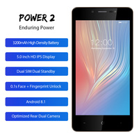 LEAGOO POWER 2 Mobile Phone 5.0HD IPS RAM 2GB ROM 16GB Android 8.1 MT6580A Quad Core Dual Camera Rear Fingerprint 3G Smartphone