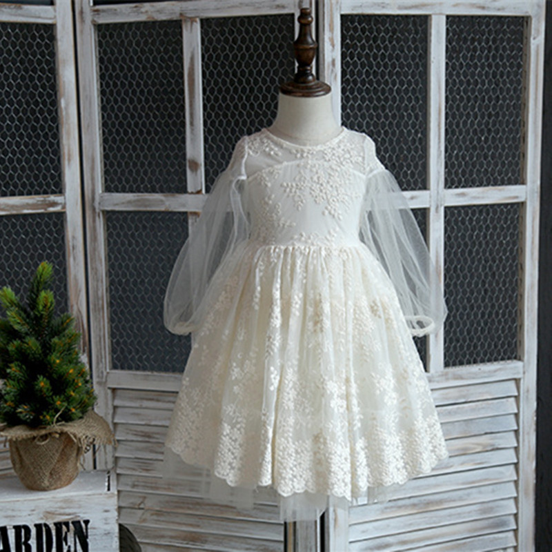 2017 Spring Lace Girls Dress Kids Embroidery Long Sleeve Tutu Dress Kids Princess Party Dresses Children Clothes 2-7Y