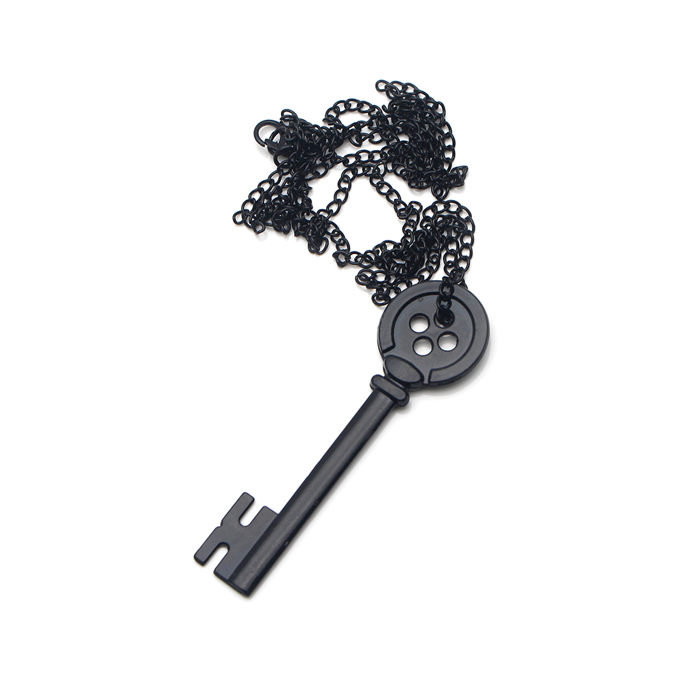 Coraline The Secret Door Key Necklace Skeleton Props Black Key Button Pendant Ebay