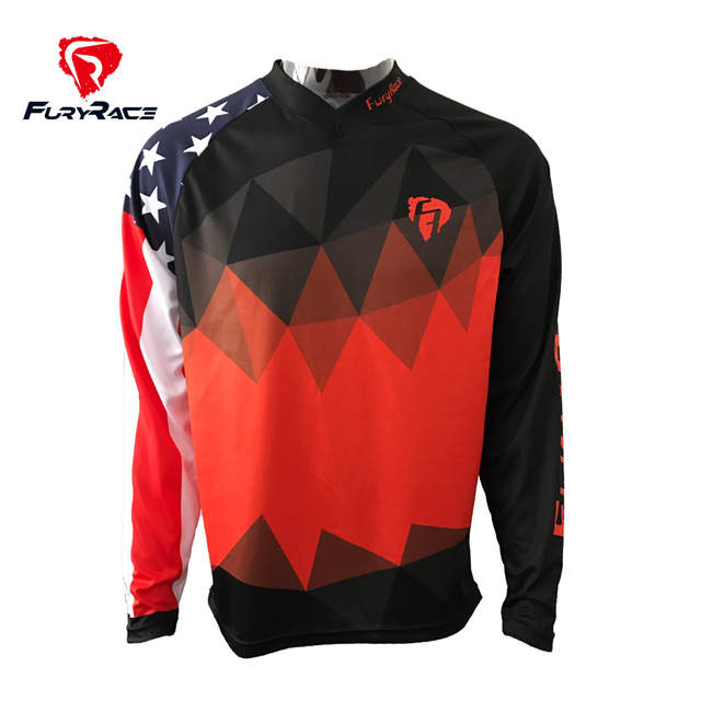 Online Shop FURY RACE 2017 American Flag DH MTB Jerseys Motorcycle Cycling  Clothing Downhill Bicycle Offroad Race Riding Motocross Shirts  0425a5417