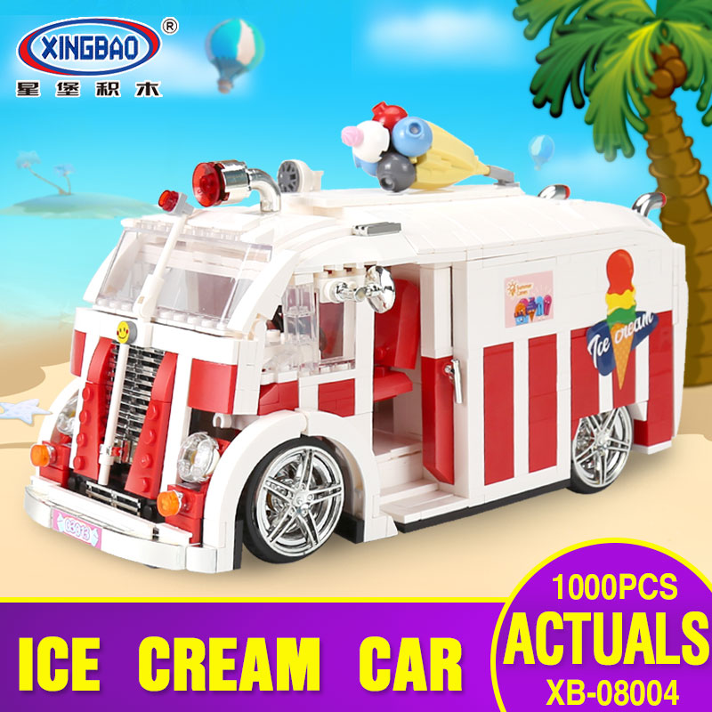 Xingbao 08004 1000Pcs Genuine Technic Series The Ice Cream Car Set Building Blocks Bricks Children Educational Toys Model Gifts sueway 100% 08004