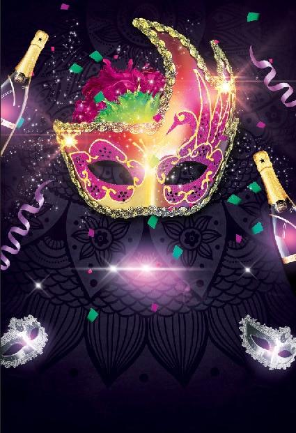 10x10ft mardi gras masquerade glitter mask wine bottle party custom photography backdrop studio