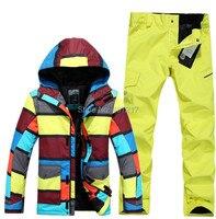 2015 Mens Insulation Snowboarding Suit Male Ski Suit Set Stripe Jacket And Yellow Pants Skiwear Waterproof