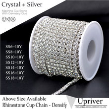 Upriver 10 yards/roll Bright Strass Silver Base Densify Claw SS16(3.8-4.0mm) Crystal Rhinestone Cup Chain For Bags Design