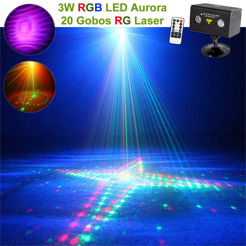 AUCD Remote 20 Pattern RG Laser Lighting Xmas Water Galaxy RGB LED Stage Lighting Projector Aurora Effect Party DJ Home  LL-20RG 96 pattern 9w black led rgb projector
