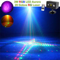 Hot Remote 20 Patterns RG Laser Lighting Xmas Water Galaxy RGB LED Stage Light Projector Aurora