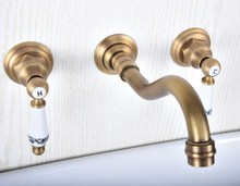 Basin Faucets Wall Mounted Bathroom Sink Basin Mixer Tap Faucet 3 Pcs Antique Brass Dual Handle Bathroom Faucet zsf510 dual handle tall golden bathroom faucet brass basin mixer tap