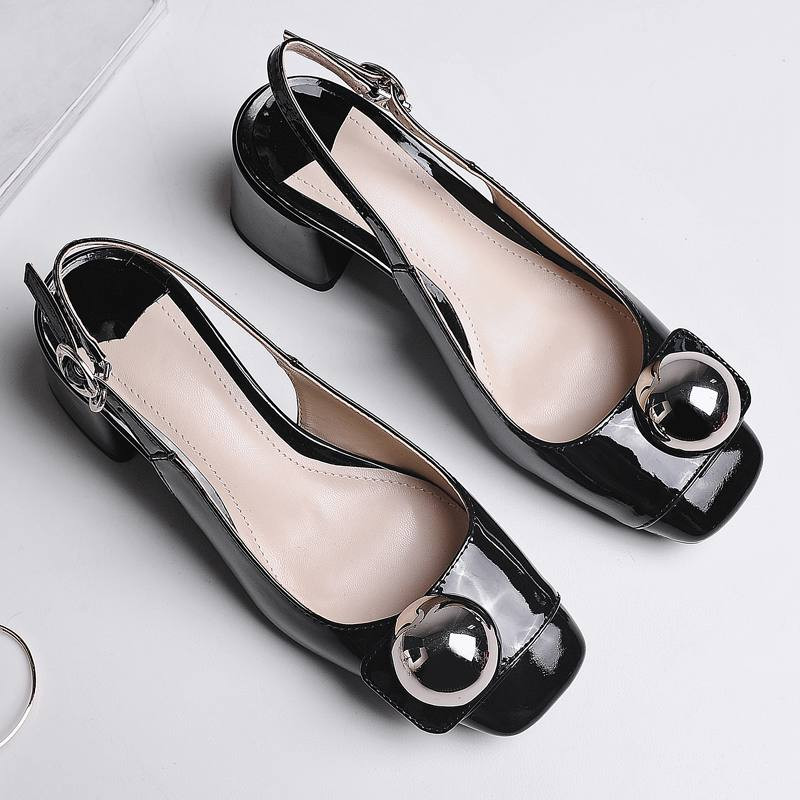 ФОТО 2017 fashion genuine leather brand summer shoes pearl luxury high heel women sandals slingback office lady party  causal shoes