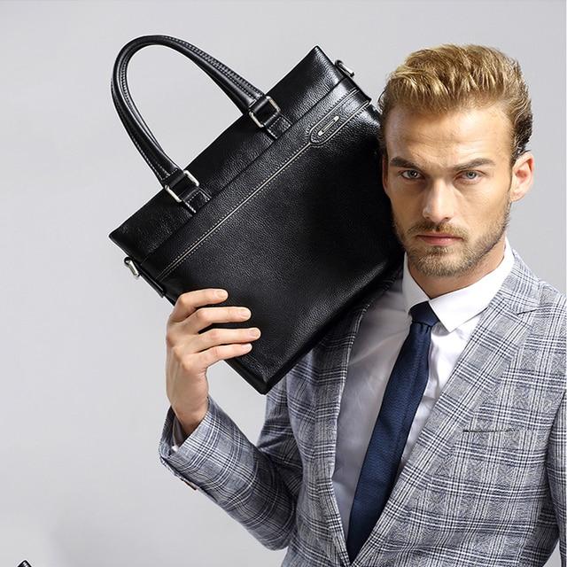 Laorentou couro genuíno dos homens maleta de negócios portátil bolsas masculino crossbody bolsa de ombro couro vaca notebook pastas 4