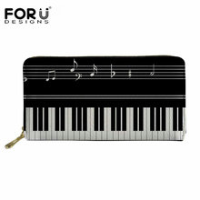 FORUDESIGNS Piano Music Note Printing Women Men Wallet Fashion Leather Long Wallets Zipper Coin Card Holder Clutch Carteras Girl