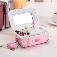 2018 Creative Pink Silver Luggage Shape Music Box For Baby Boys Girls Toys Stress Relief Baggage