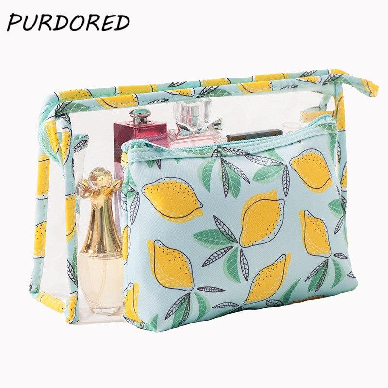 PURDORED2 Pcs/set Clear Cosmetic Bag PVC Travel Lemon Printed Makeup Bag Women Waterproof Organizer Totes Zip Lock Storage Bags