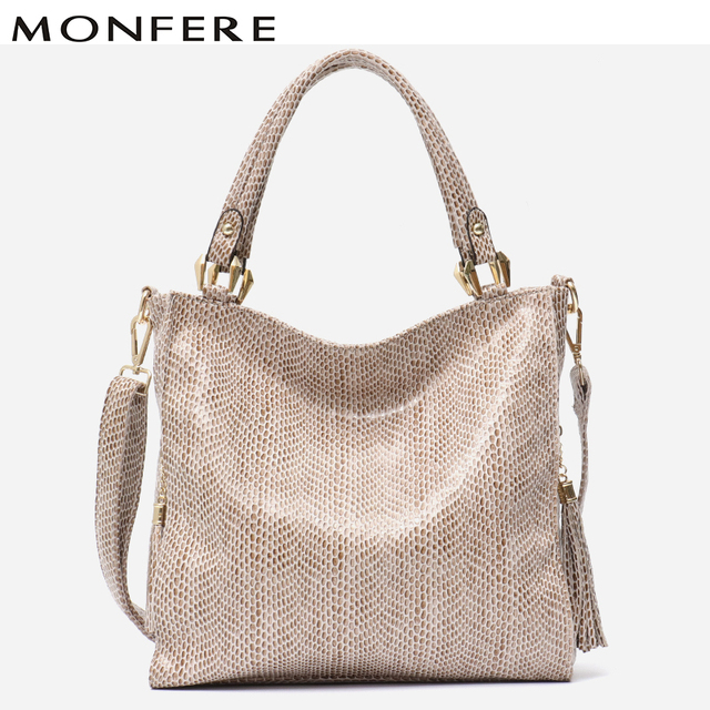 MONFERE Vegan Leather Tassel Handbags Women Large Totes Shoulder Crossbody  bags Ladies Classic Serpentine Pattern Pu Leather Bag 8b6bf45861bb3