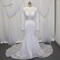 2017 Mermaid Bridal Dresses V Back Long Sleeves Lace Wedding Dress Chapel Train Vestido De Noiva Sereia Berta Wedding Gowns