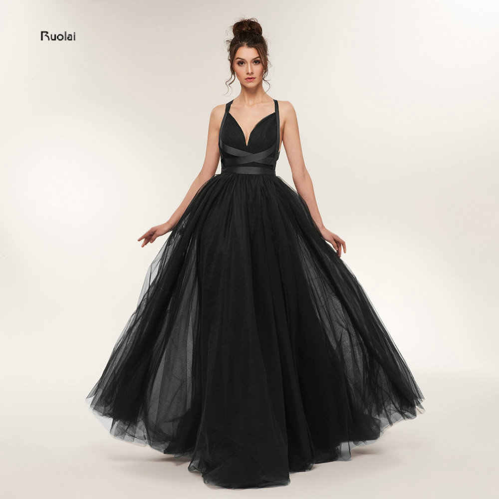 48bca663529 Sexy Black Evening Dresses 2018 Long Train V Neck Tulle Evening Gown ...
